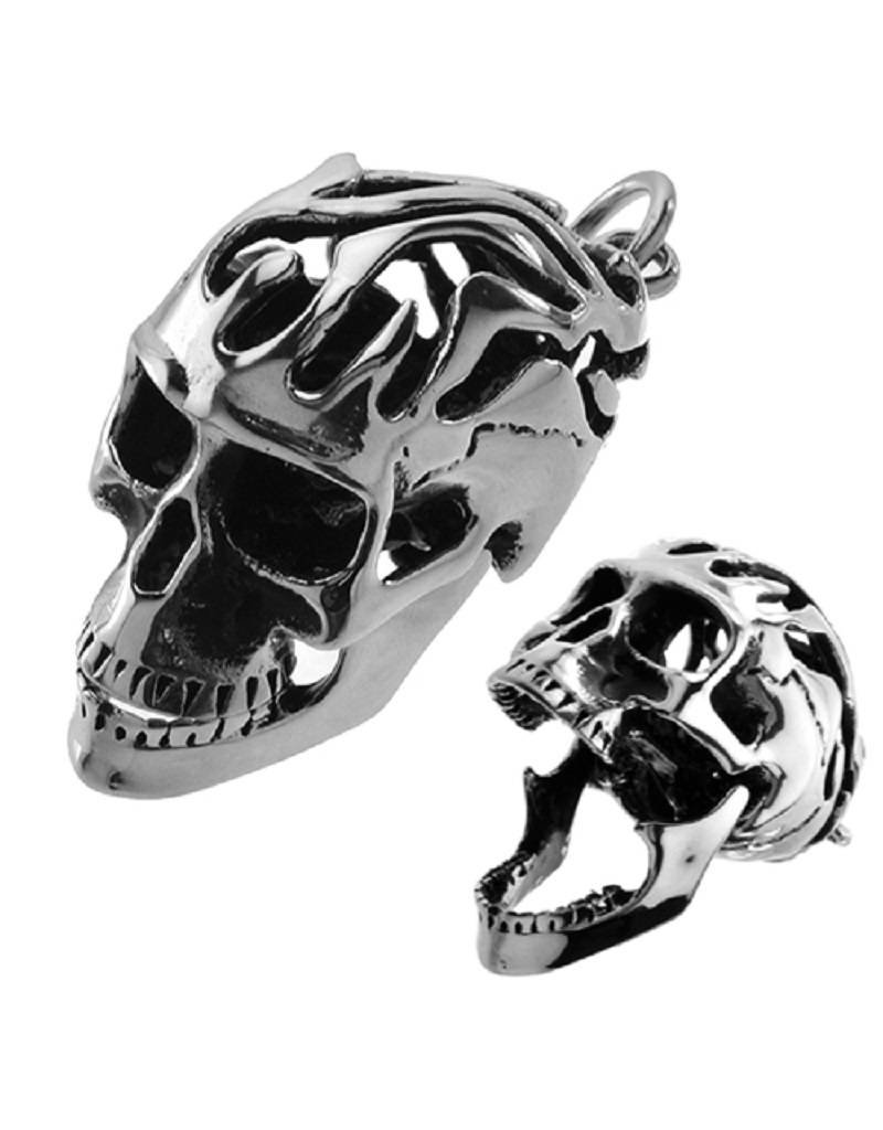 Men's Stainless Steel Flaming Skull Pendant