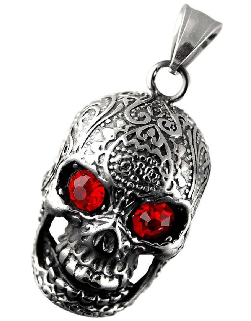 Men's Stainless Steel Skull Pendant with Red Crystal Eyes 32mm