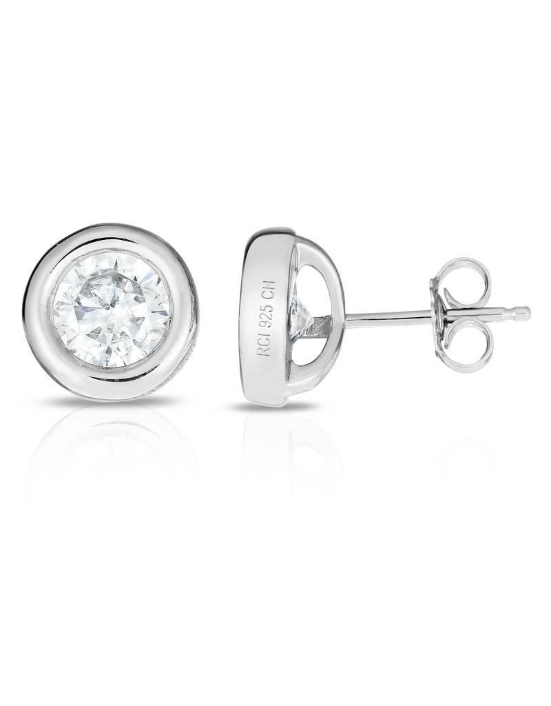 Bezel Set CZ Stud Earrings 10mm