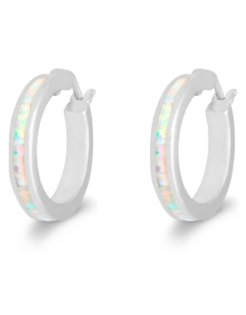 White Opal Hoop Earrings 19mm