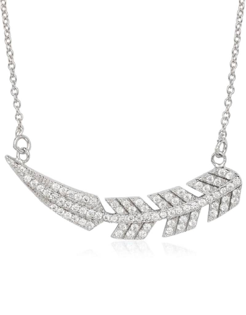 """CZ Feather Necklace 16""""+2"""""""