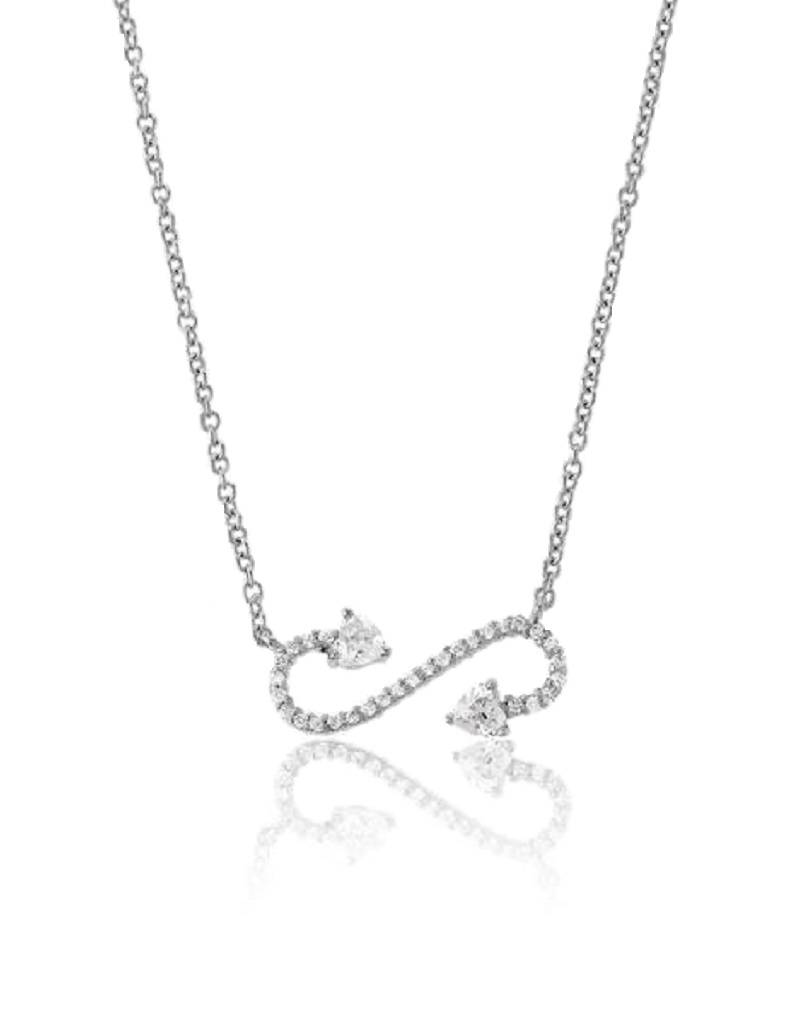Scroll Heart CZ Necklace
