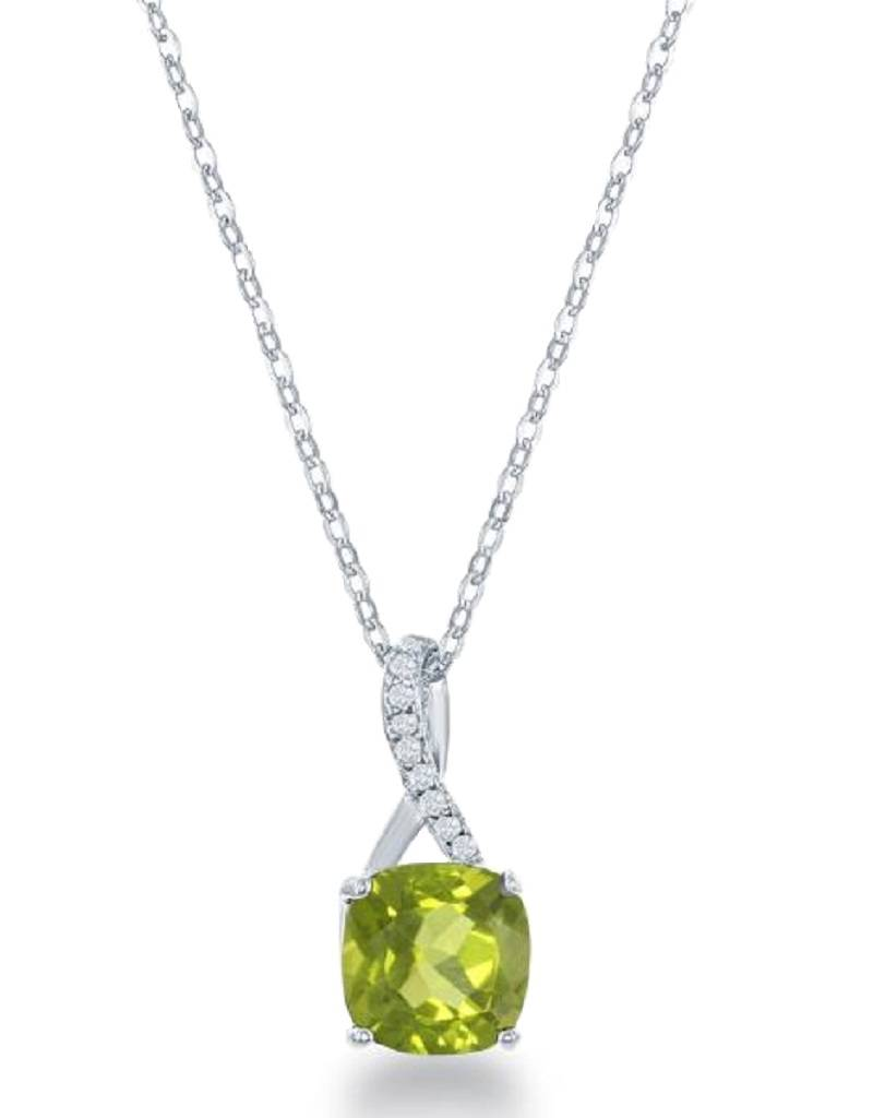 Peridot & W-topaz Necklace 18""