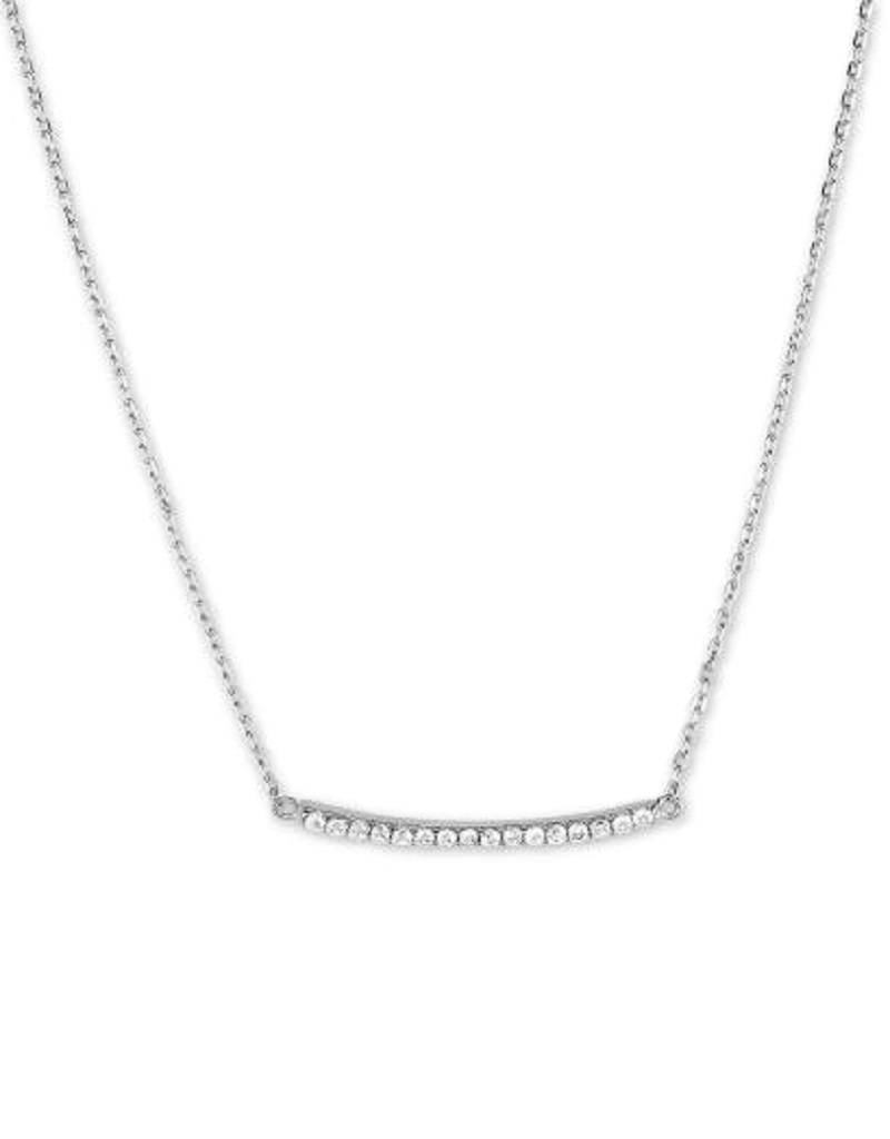 Curved Bar CZ Necklace 16+2""