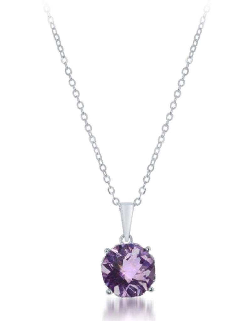 Round Amethyst Necklace