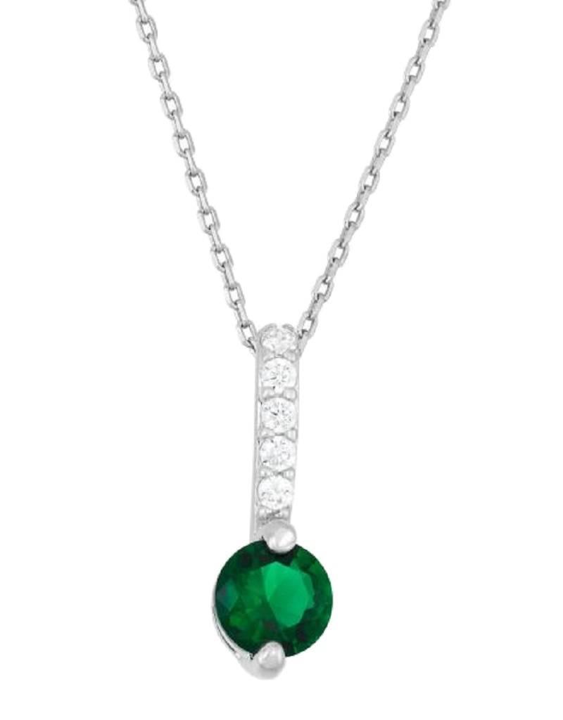 Round Green CZ Bar Necklace