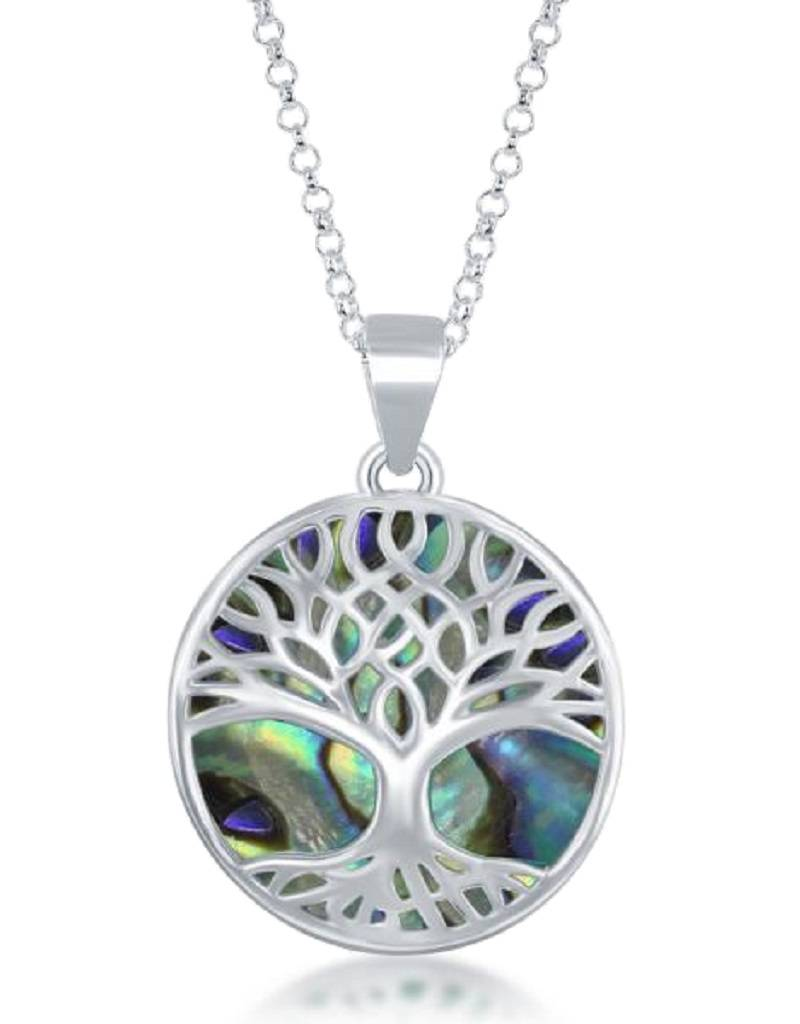 Tree of Life Abalone Necklace 18""