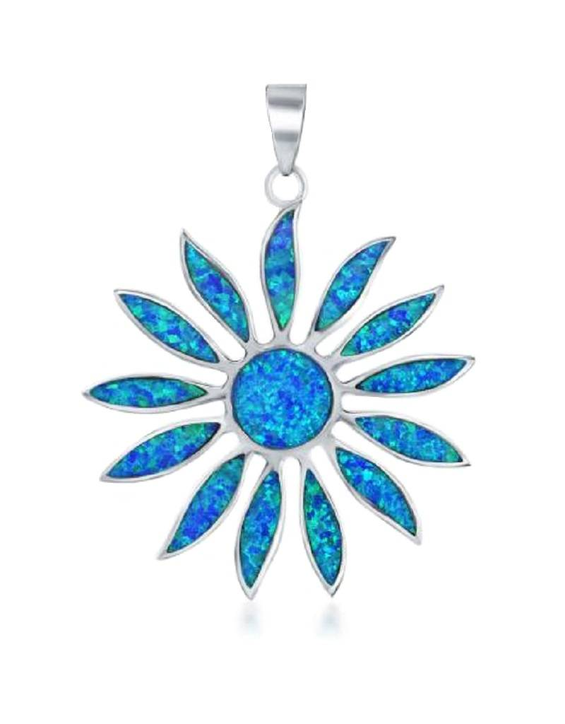 Daisy Blue Opal Pendant 38mm