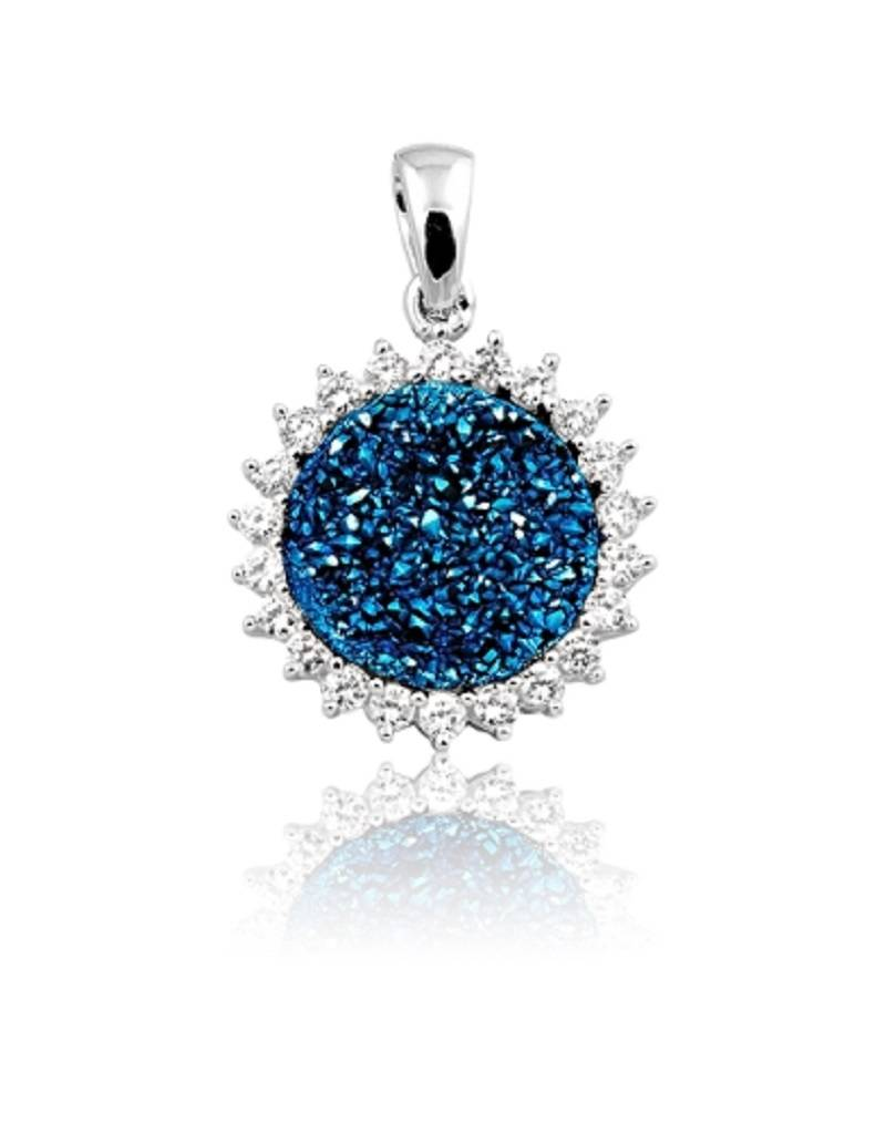 Blue Druzy with CZ Pendant 18mm