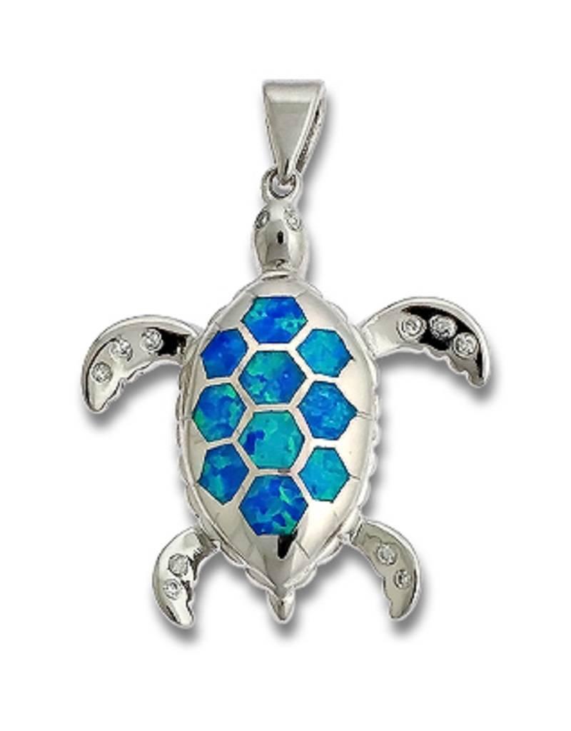 Turtle Opal & CZ Pendant