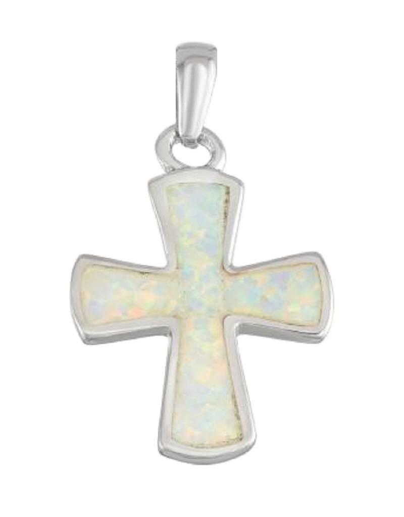 Cross White Opal Pendant 20mm