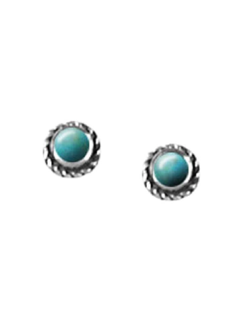 Bom Sterling Silver Round Turquoise Stud Earrings 5mm