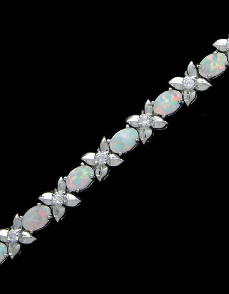 Oval Opal and CZ Bracelet 7""