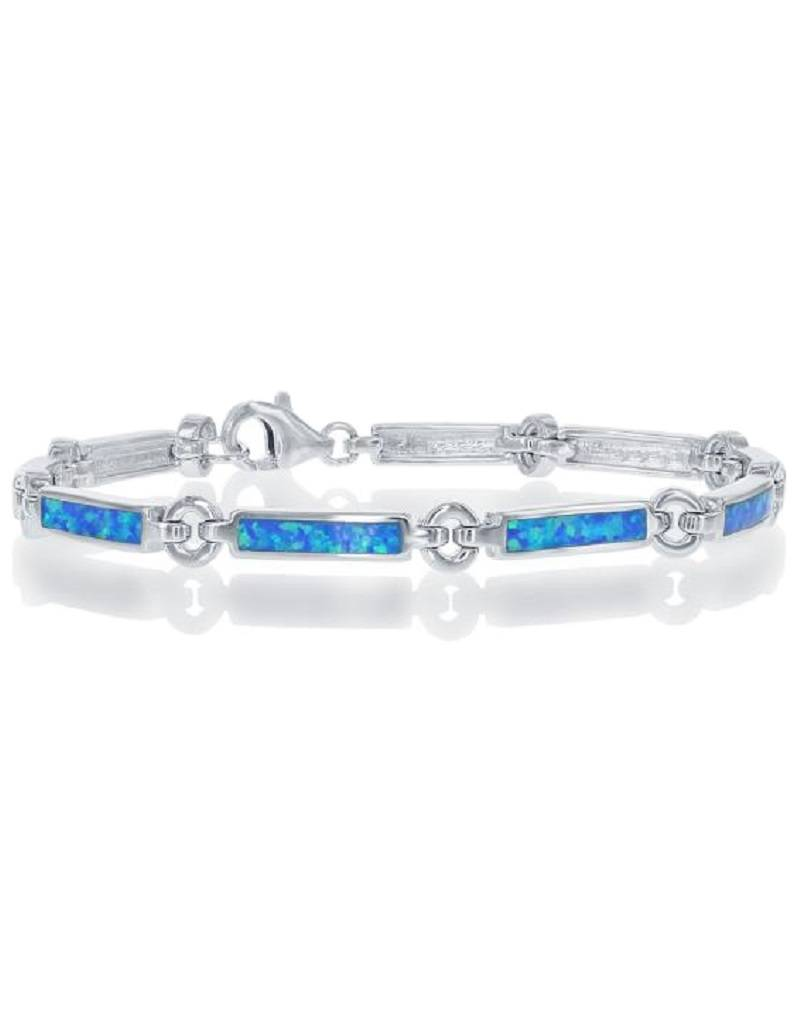 Rectangle Link Opal Bracelet 7.25""