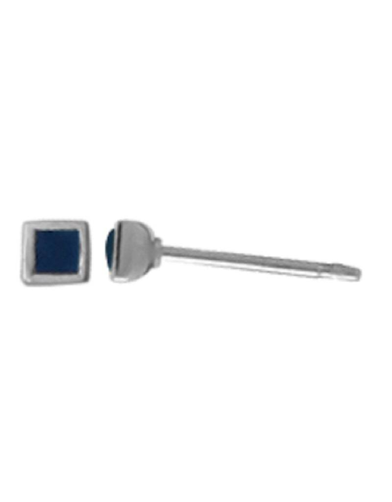 Dark Blue Square Stud Earrings 3mm
