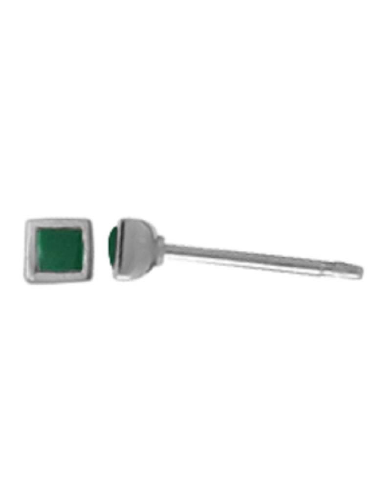 Green Square Stud Earrings 3mm