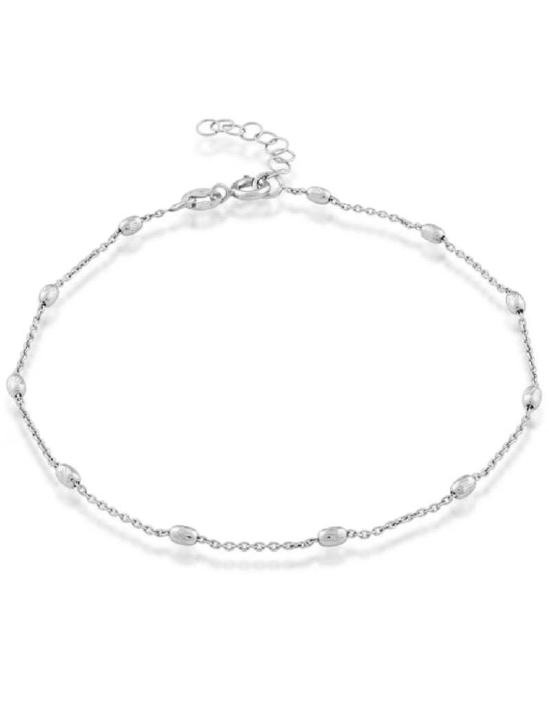 "3mm Oval D/C Bead Anklet 9""+1"""
