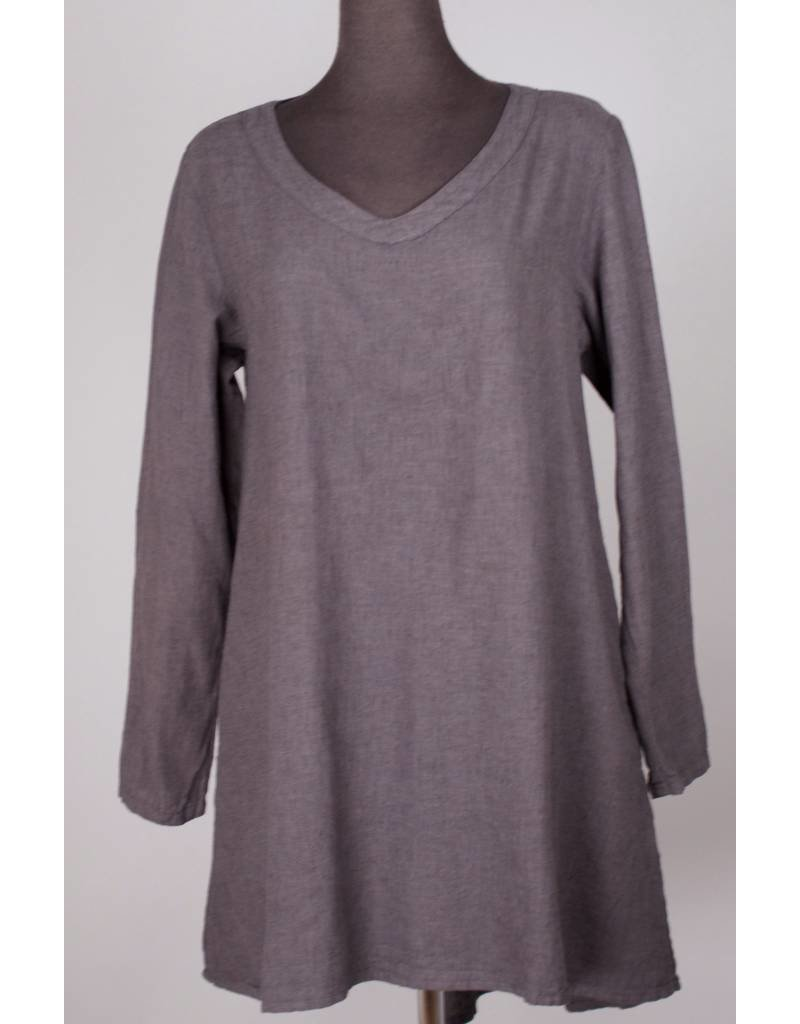 Cut Loose CUT LOOSE- V-Neck Tunic in Iron