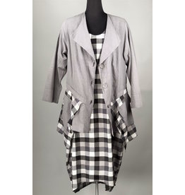 KEKOO KEKOO-Grey With Check Jacket