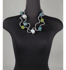 Sandrine Giraud Sandrine Giraud-Cube Necklace in Char/Turq