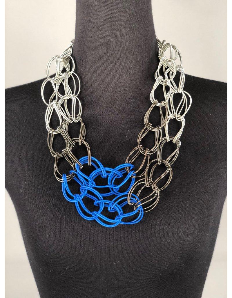 Sandrine Giraud Sandrine Giraud-Twist Necklace in Blue/Grey