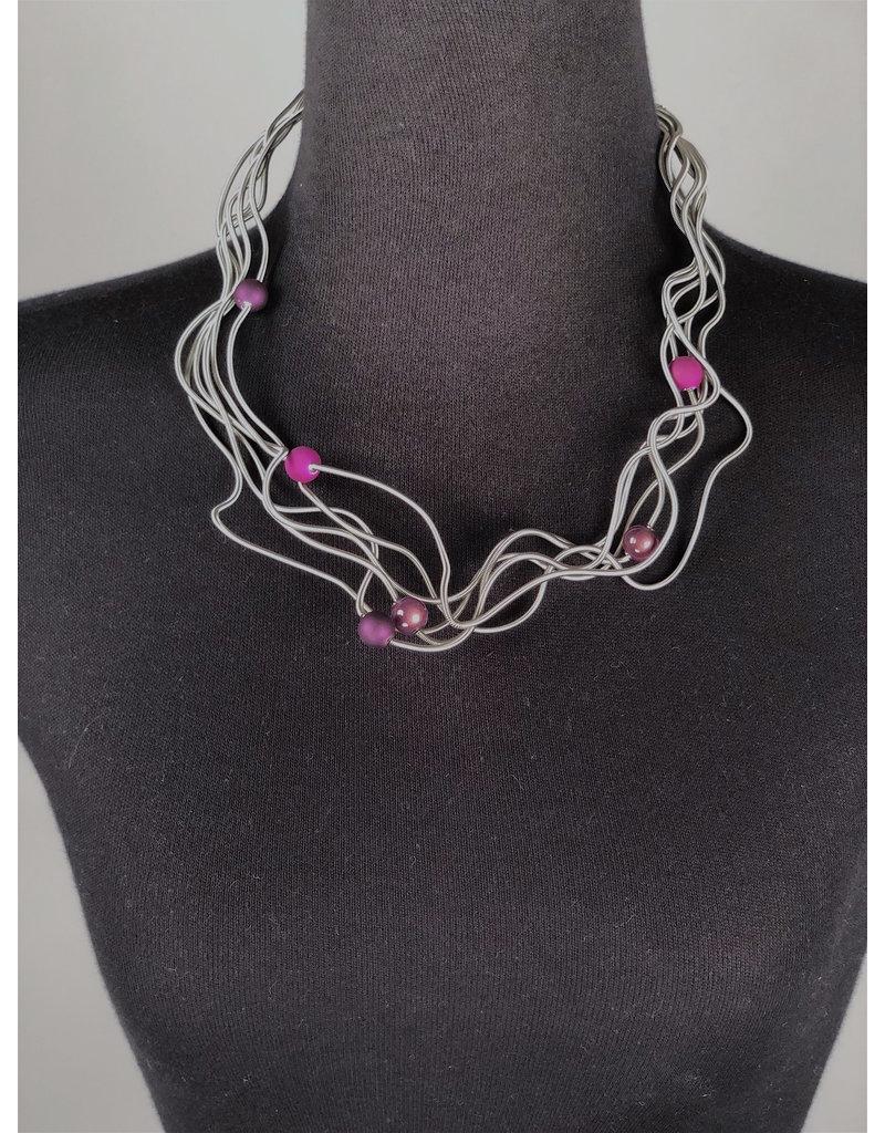 Sandrine Giraud Sandrine Giraud-Fine Wire/Plum Ball Necklace