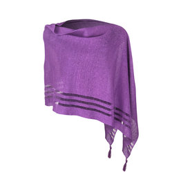 Ireland-Linen Poncho in Purple