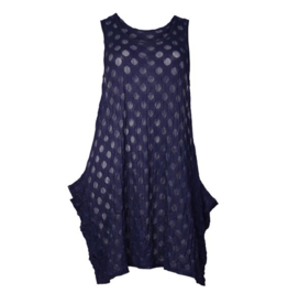Boris BORIS- Mesh Dot Jumper in Navy