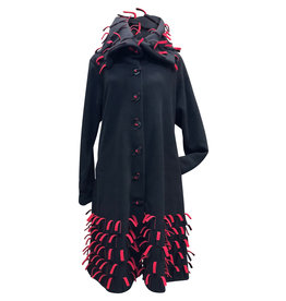 Boris BORIS- Fringe Coat in Blk/Red