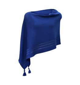 Ireland-Merino Wool Poncho in Royal Blue