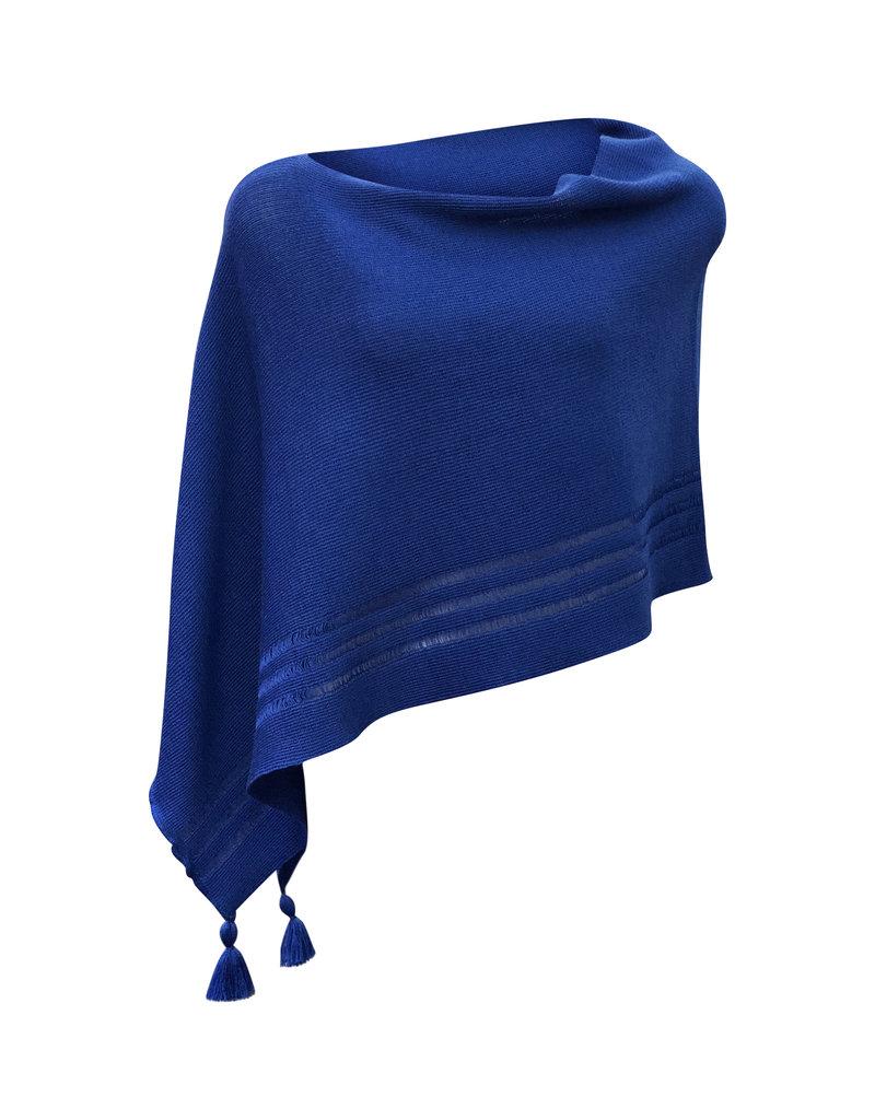 Ireland-Merino Wool Poncho in Royal Blue