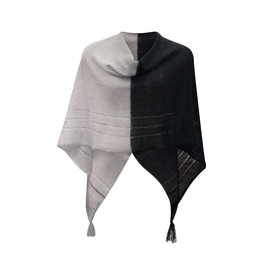 Ireland-Mohair/Silk Poncho in Blk/Grey