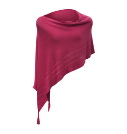 Ireland-Merino Wool Poncho in Deep Pink