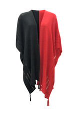 Ireland-Merino Wool Cape in Blk/Red