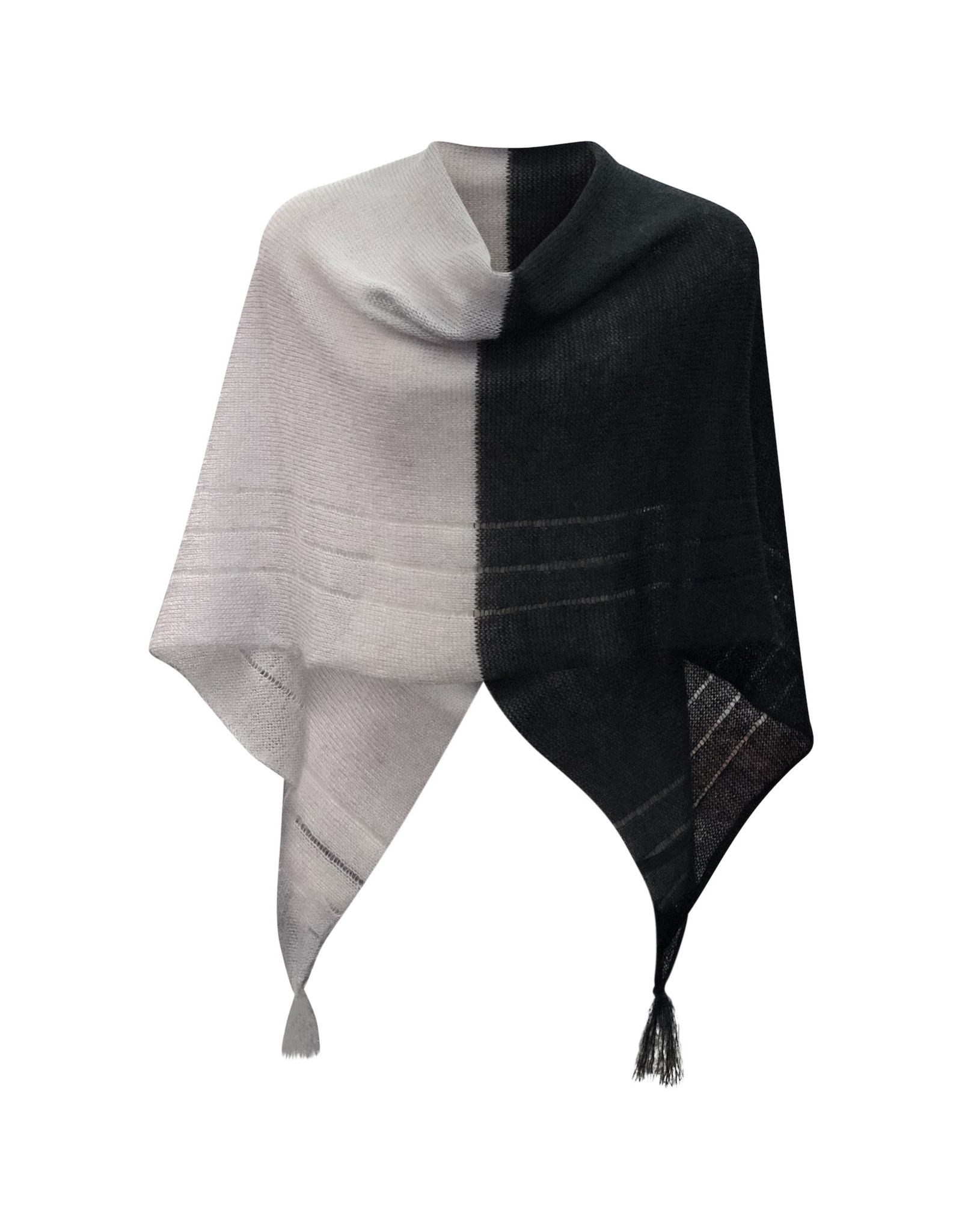 Ireland-Merino Wool Poncho in Blk/Gry