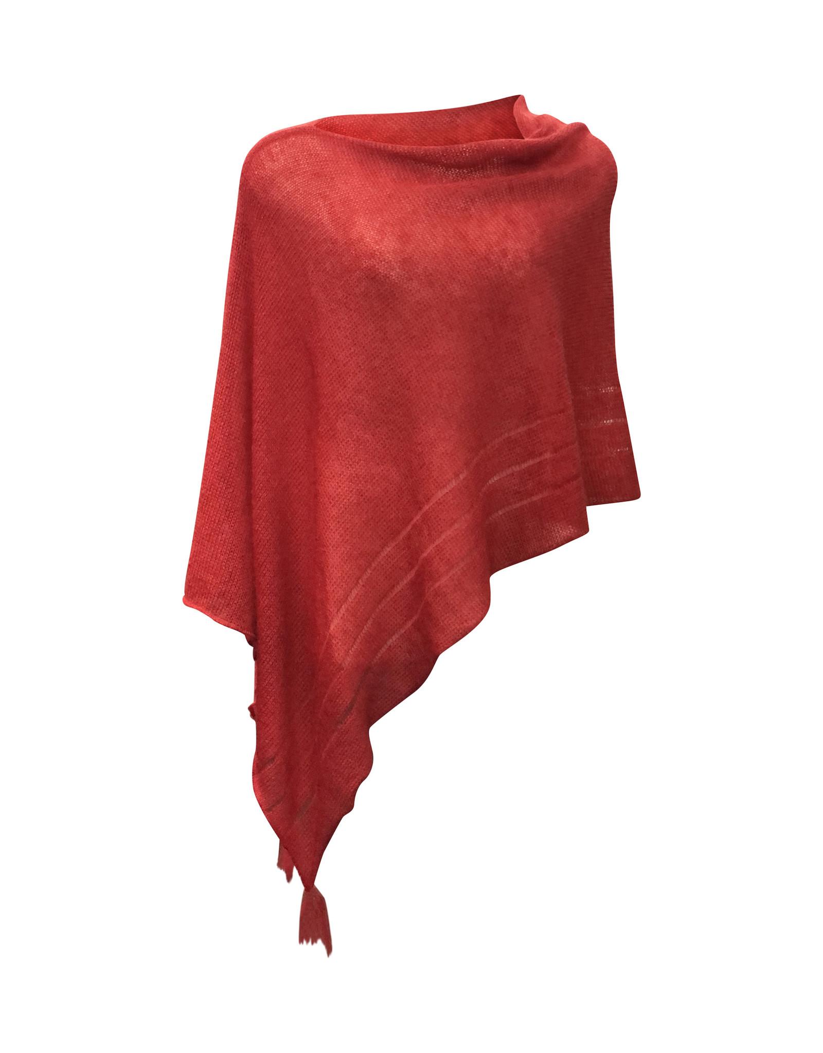 Ireland-Merino Wool Poncho in Red