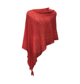 Ireland-Merino Wool Poncho in Red