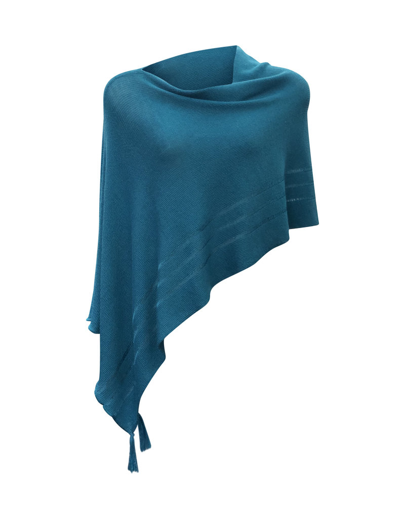 Ireland-Merino Wool Poncho in Teal