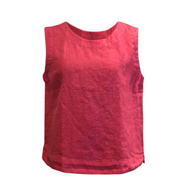 Cut Loose Cut Loose-Linen Crop Tank in Cherry