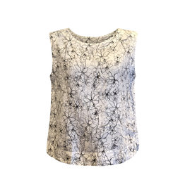 Cut Loose Cut Loose-Floral Crop Tank in White