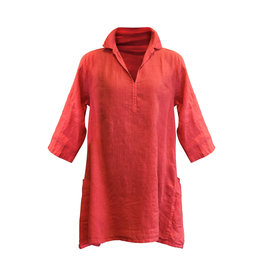 Cut Loose Cut Loose-Linen Pocket Tunic in Harbour Red