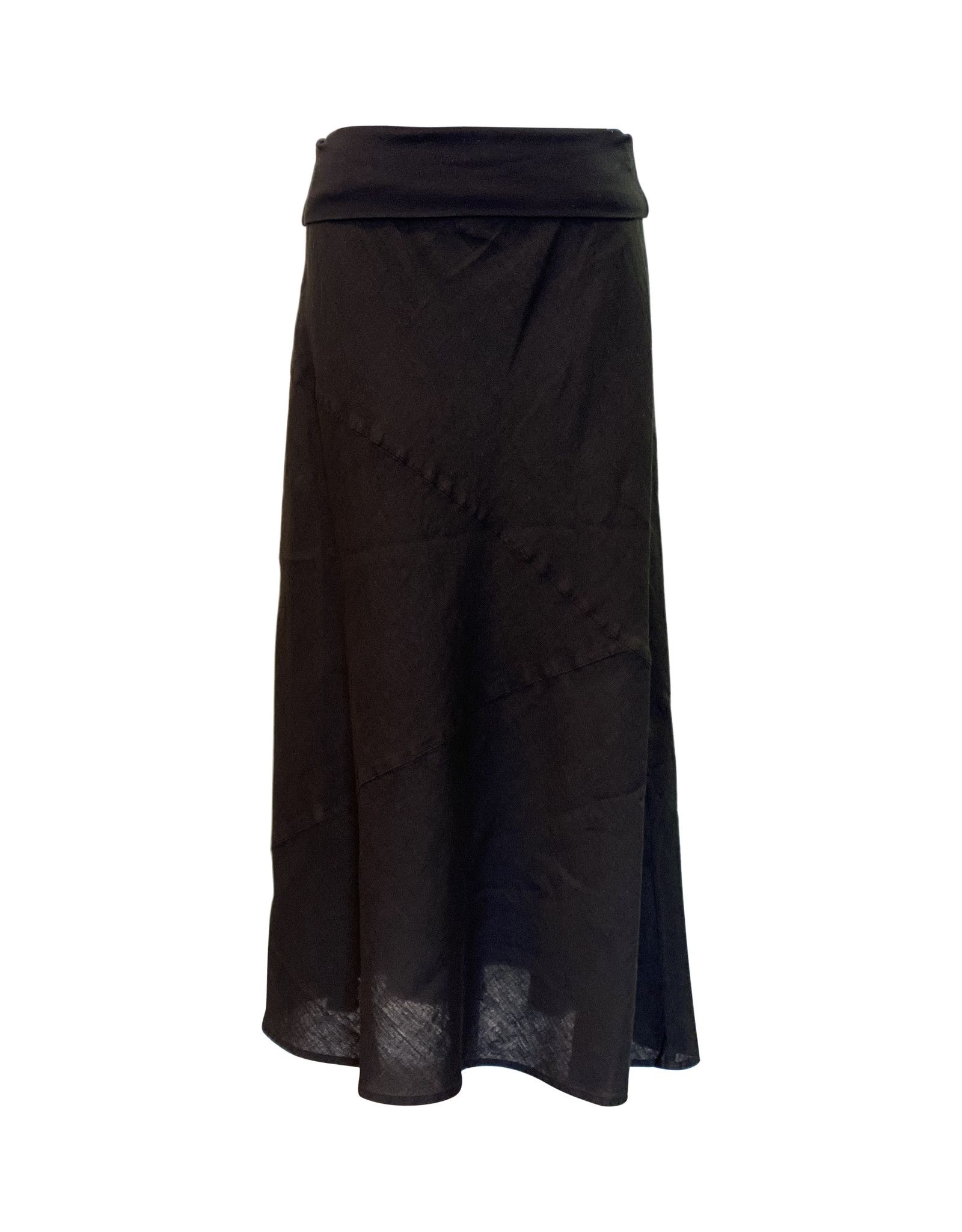 Click Click-Linen Seamed Skirt