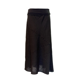 Click Click-Linen Seamed Skirt in Blk