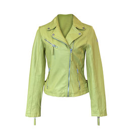 Mauritius-Leather Jacket in Chartreuse