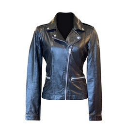 Mauritius- Leather Jacket Slim Fit in Blk
