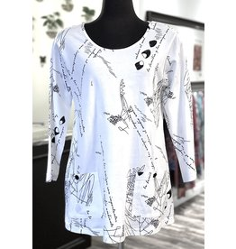 Cotton Pocket Tunic Wht Print