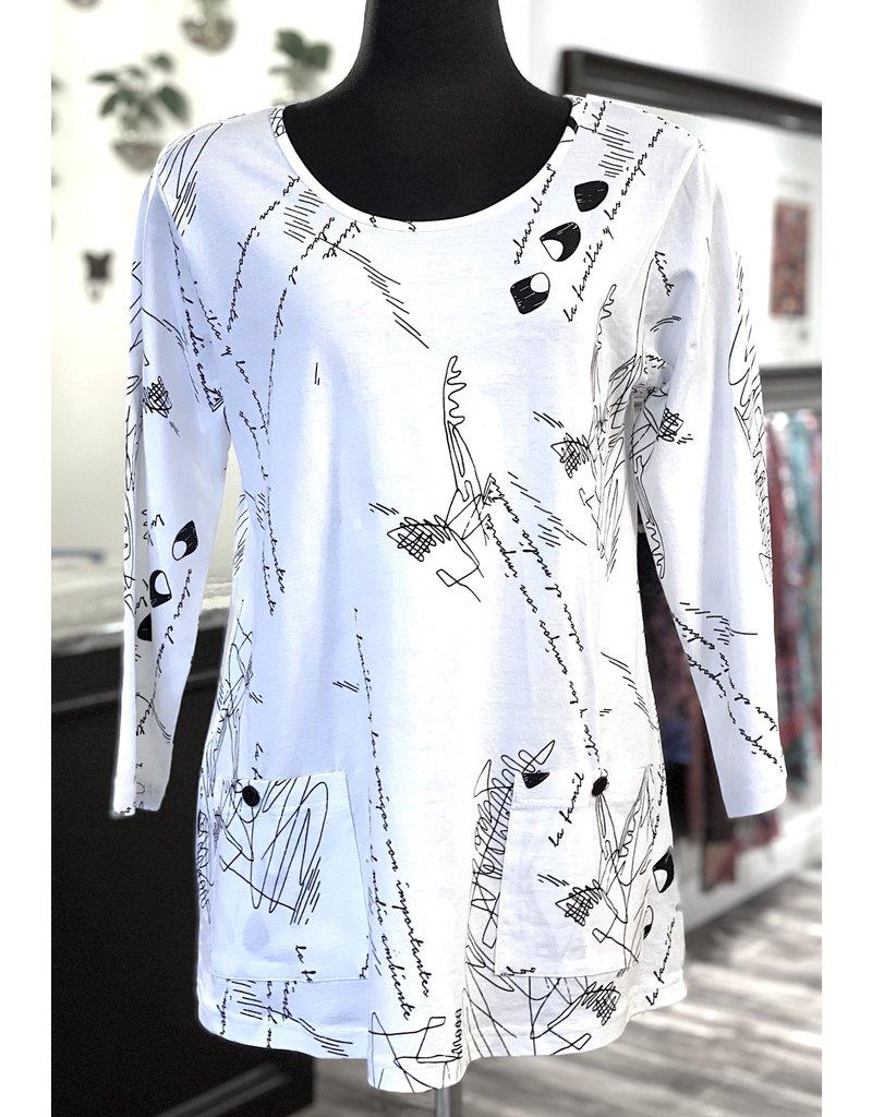 P&S-Cotton Pocket Tunic Wht Print