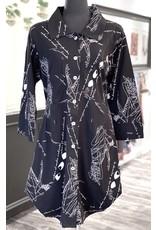 P&S-Cotton Tunic Dress Blk Print