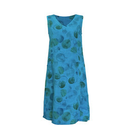 Click Click-Linen Sleeveless Dress in Turq
