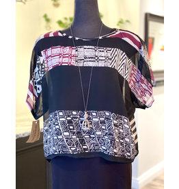 SariKNOTsari Silk sari-Boxy Top in Stripe